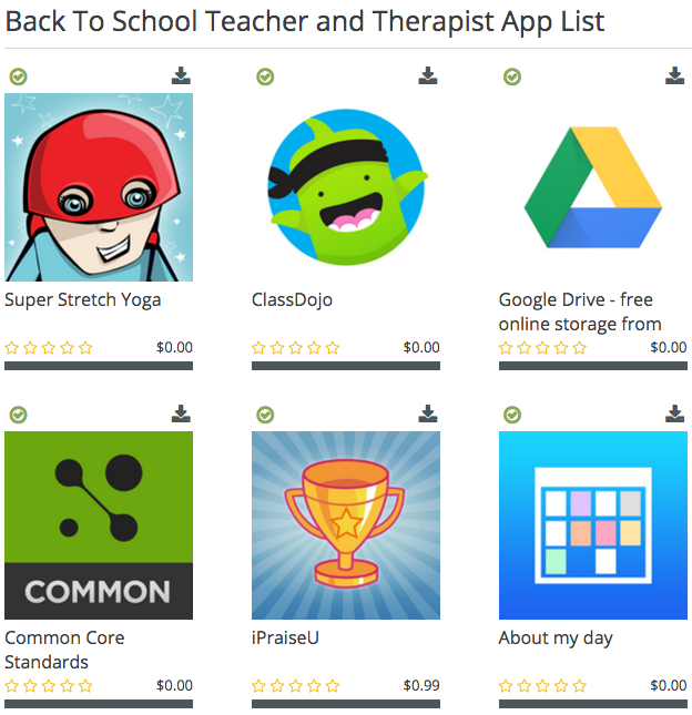 Back to School Teacher and Therapist Apps