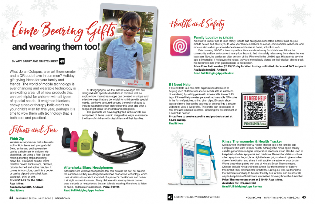 Parenting Special Needs Magazine Holiday Edition