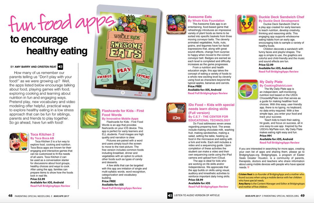 PSN Fun Food Apps Article