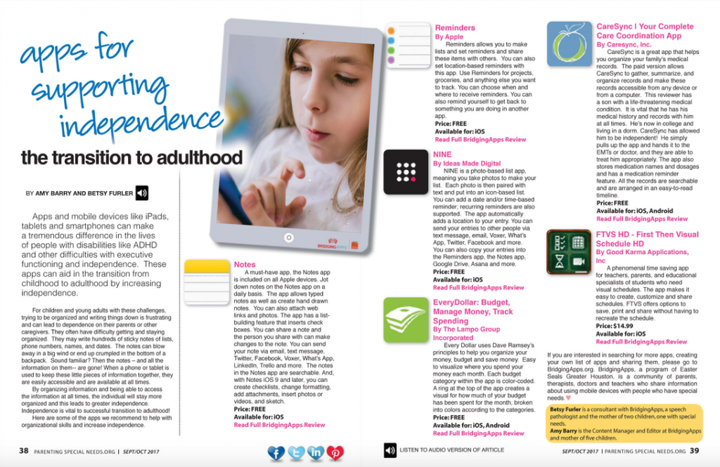Five Apps That Encourage Independence >> Parenting Special Needs Magazine Apps For Supporting Independence
