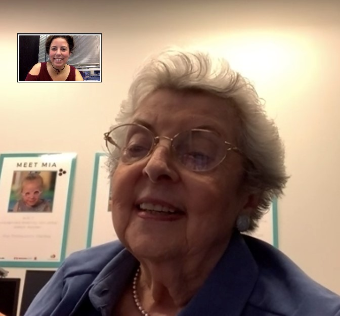 older adult lady facetiming young lady