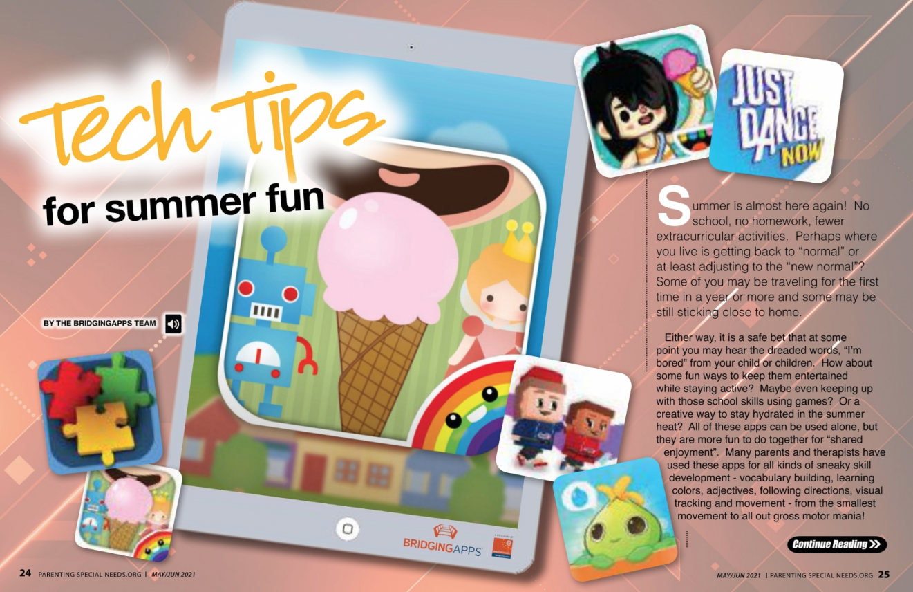 Parenting Special Needs Magazine Tech Tips For Summer Fun Graphic